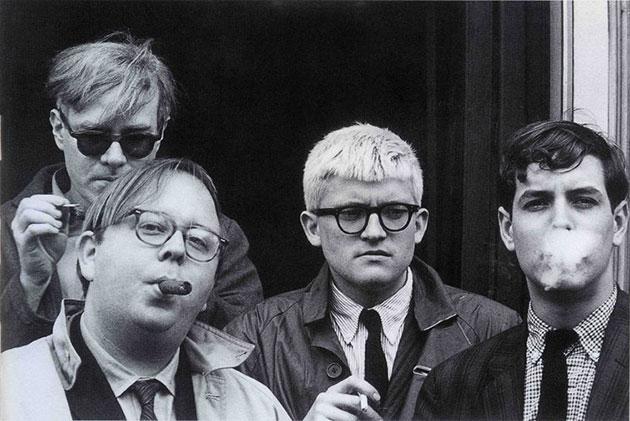 Andy Warhol, Henry Geldzahler, David Hockney and Jeff Goodman