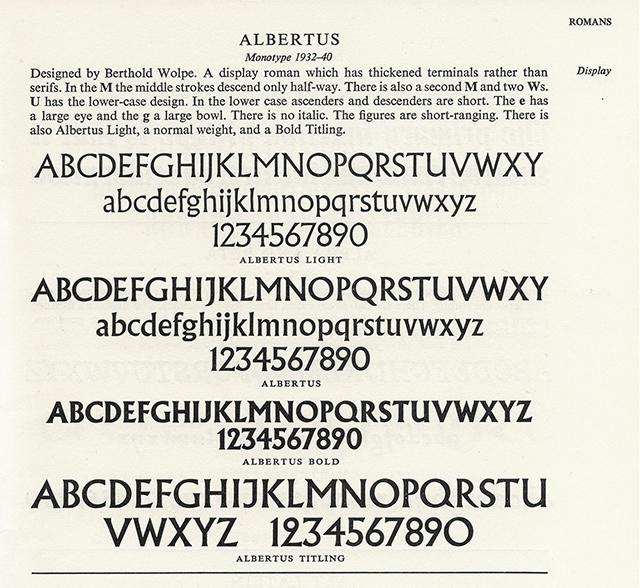 Albertus Typefaces 1962