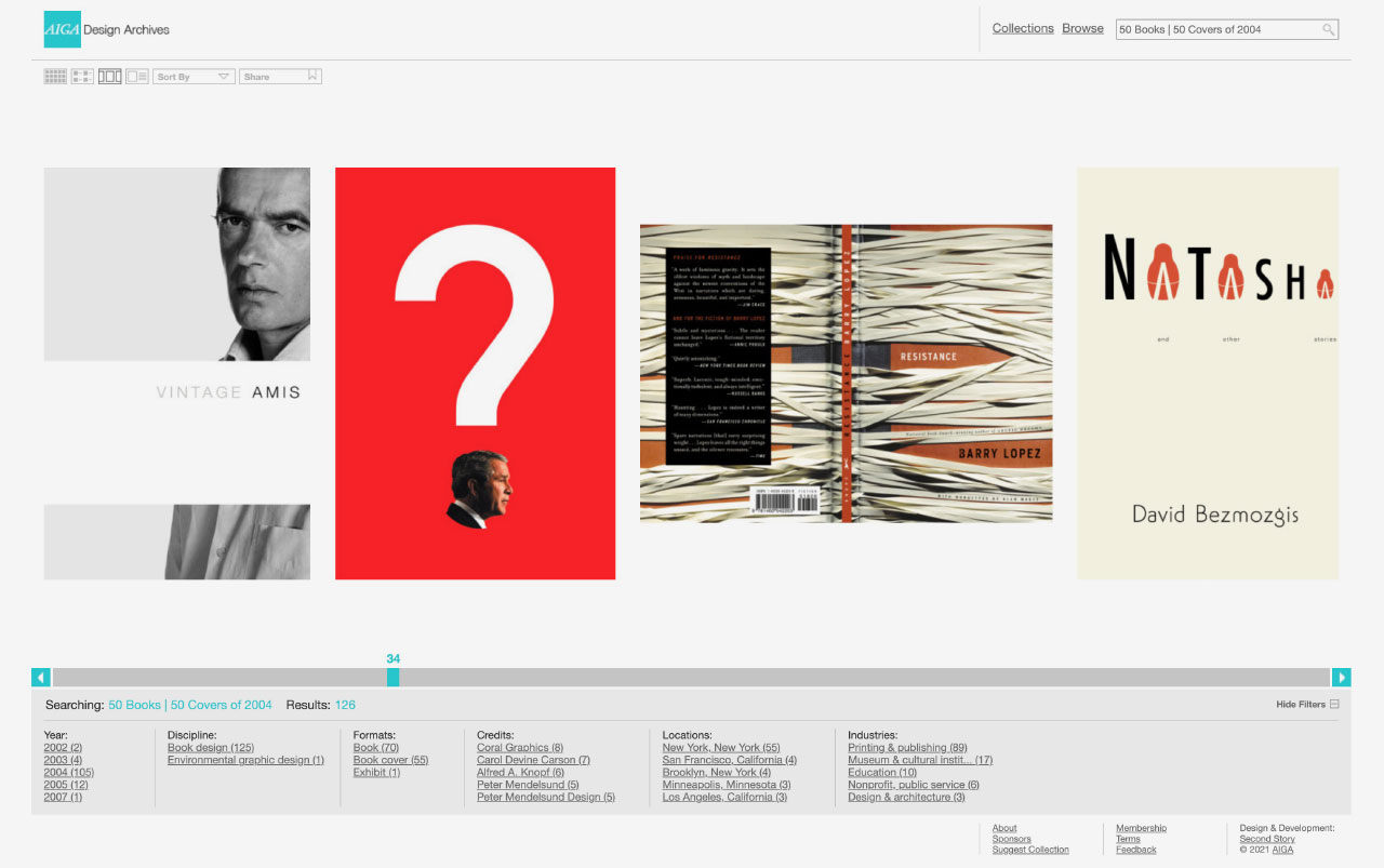 Screengrab from the AIGA Design Archives website showing a selection of book covers